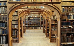 Picture books, arch, library, shelves