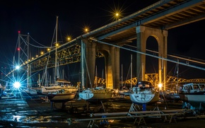 Picture night, bridge, boats, pier, Scotland, Scotland, Edinburgh, Bridges, Marinas