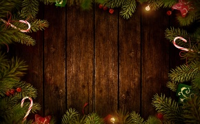Picture branches, balls, Board, tree, Christmas decorations