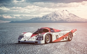 Picture Porsche, Car, Race, Mountain, 962, Derek Bell, Salt Desert