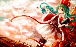Wallpaper the sky, girl, clouds, birds, hat, anime, art, book, vocaloid, hatsune miku, hanchan