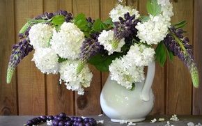 Picture bouquet, hydrangea, Lupin