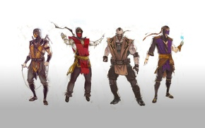 Picture Mortal Kombat, Rain, Scorpion, ninja, Tremor, Ermac