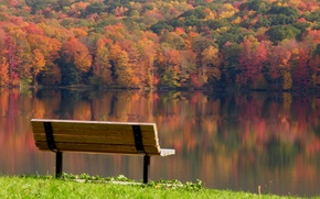 Wallpaper leaves, trees, landscape, bench, reflection, river, serenity, Autumn, day, shop, colorful, bench