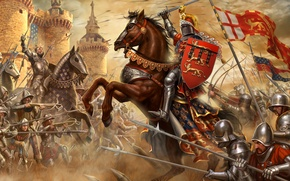Picture fortress, warriors, knights, The battle of Crecy, The French, The hundred years war, The British