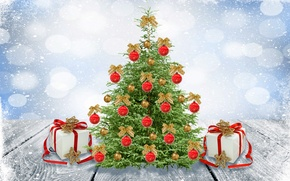 Picture winter, snow, balls, toys, tree, New Year, Christmas, Christmas, winter, snow, bows, decoration, Merry