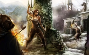 Picture girl, fire, art, battle, arrows, tomb raider, column