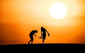 Picture the sky, the sun, joy, landscape, sunset, horizon