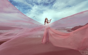 Picture the sky, color, sword, dress, fabric, Asian