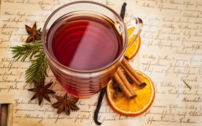 Picture Anis, tea, Cup, mulled wine, drink, star anise, orange, spices, cinnamon, vanilla