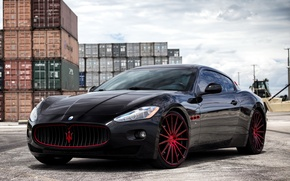 Picture Maserati, black, GranTurismo, with, exterior, painted, lowered, Vossen wheels, matched, and red, on color, accents …