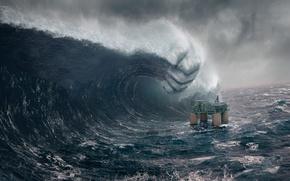 Wallpaper the ocean, tower, tsunami