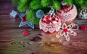Picture decoration, branches, balls, tree, New Year, Christmas, Christmas, wood, decoration, Merry