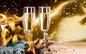 Picture decoration, gift, New Year, glasses, champagne, New Year, Happy