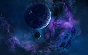 Picture space, stars, planet, nebula