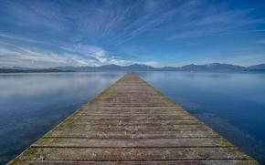 Picture mountains, Bayern, horizon, pierce, infinity, mountains, infinity, Bavaria, pier, horizon, Lake Chiemsee, Lake Chiemsee