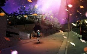 Wallpaper road, leaves, street, stars, night, the sky, nagato yuki, suzumiya haruhi no yuutsu