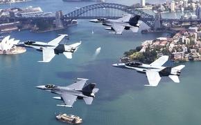 Wallpaper flight, f-18, four, formation, aircraft