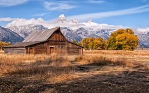 Picture the sky, landscape, mountains, house