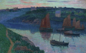 Picture landscape, house, hills, boat, picture, sail, Henri Moret, Fishing boats in Brittany