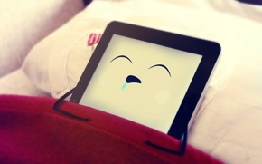 Picture sleep, eyes, ipad, pillow.