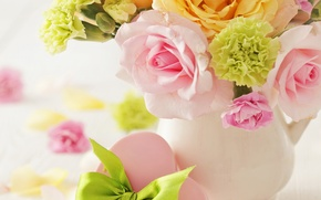 Picture love, flowers, heart, roses, bouquet, vase, gentle, love, heart, flowers, roses, delicate, pastel