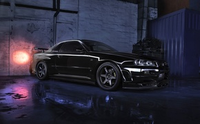Wallpaper black, Nissan, Skyline, Nissan Skyline R34 GTR V