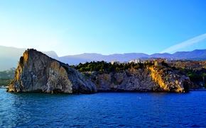 Picture sea, autumn, the sky, sunset, stones, Yalta, Gurzuf