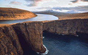 Picture sea, the sky, clouds, mountains, river, the ocean, rocks, Faroe Islands