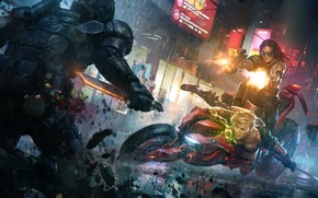 Picture the city, lights, weapons, girls, rain, sword, art, soldiers, knife, motorcycle, shooting, battle, Brands Sudak