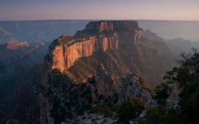 Picture sunset, fog, canyon