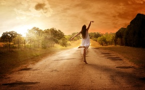 Picture road, girl, mood, dance