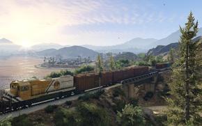 Picture landscape, train, Grand Theft Auto V