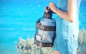Wallpaper sea, girl, sundress, summer, Lazur, cell