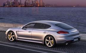 Picture sea, auto, the evening, Porsche, Panamera, Porsche, Turbo