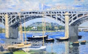 Wallpaper The bridge over the Seine, picture, Claude Monet, boats, river, landscape