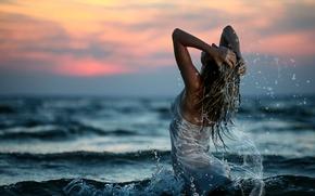 Wallpaper girl, sunset, squirt, Sea