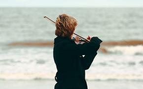Picture sea, beach, music, violin, musician, coat, violin bow