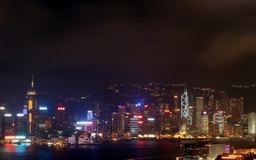 Wallpaper Hong Kong, skyscrapers, night, neon, Lights