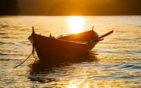 Picture water, the sun, sunset, nature, glare, boat