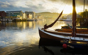 Picture landscape, sunset, home, Bay, boats, pier, town