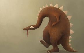 Picture language, background, figure, dinosaur, lizard, profile