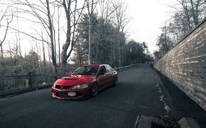 Picture road, Park, wall, tuning, red, Lancer, Mitsubishi, mitsubishi lancer evo