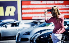 Picture girl, cars, mood