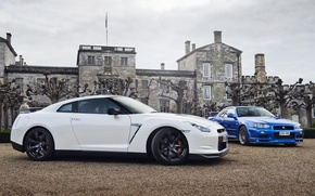Picture white, trees, blue, house, Nissan, white, skyline, Nissan, blue, gtr, front, tree, r34, gtr, skyline, …