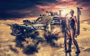Picture sand, the sky, girl, weapons, dust, armored car, Road rage, Mad Maх, Bezumny Max