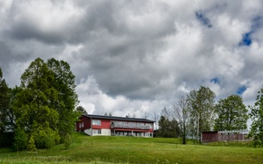 Picture greens, field, summer, the sky, clouds, trees, nature, house, green, summer, house, Nature, Sweden, sky, …