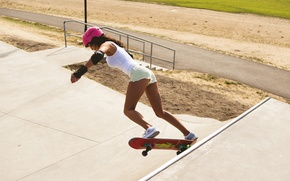 Picture girl, sport, shorts, figure, helmet, legs, skate
