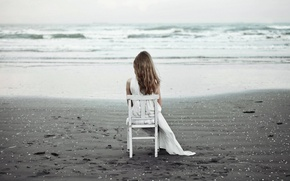 Picture sea, girl, chair