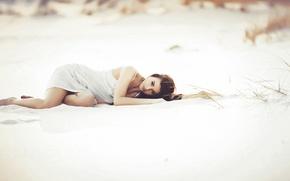 Picture sand, beach, girl, lies